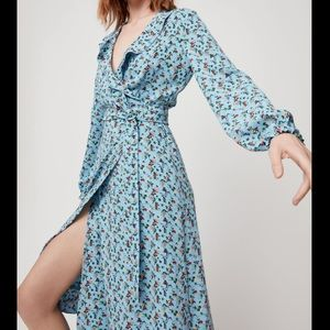 Aritzia Little Moon Elm Midi Wrap Dress